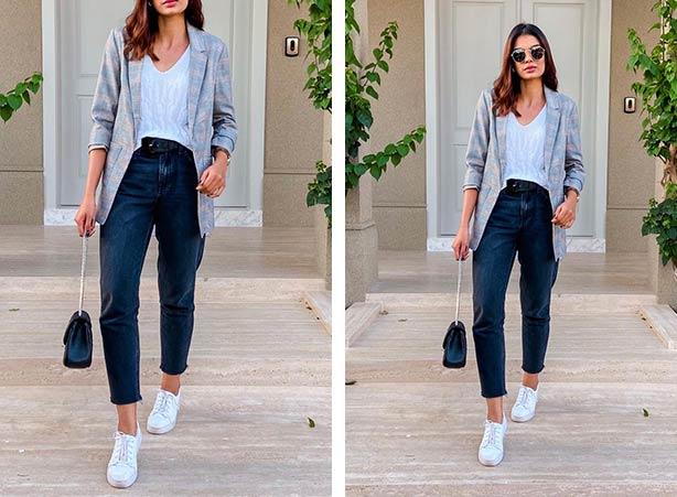 Blazer com calça e tênis