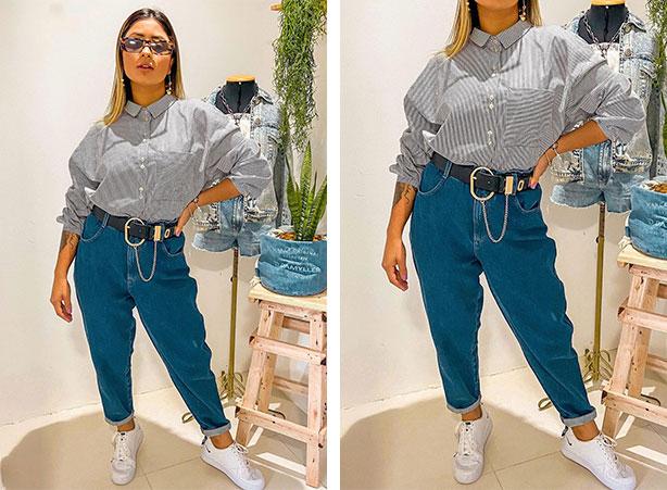 Camisa social com calça jeans e tênis