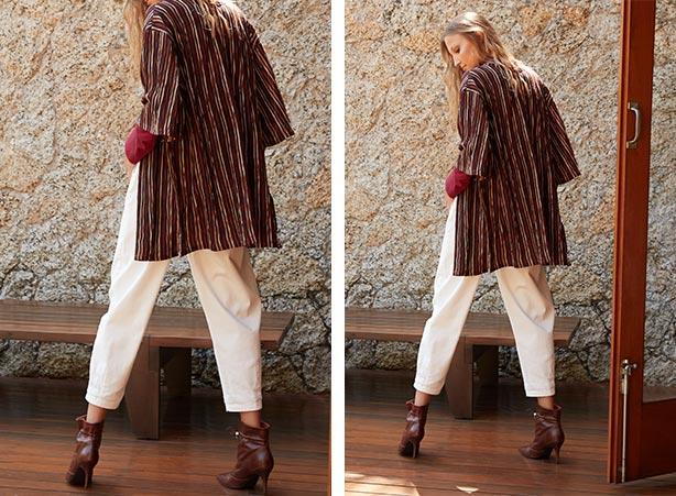 Calça slouchy branca com kimono