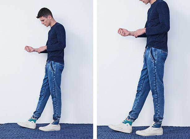 Look com calça jogger jeans masculina em dias de frio
