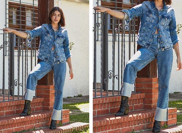 Calça wide leg com jaqueta jeans no look inverno 2021