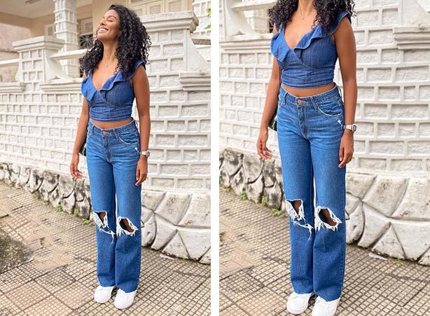 Blusa cropped jeans com babados
