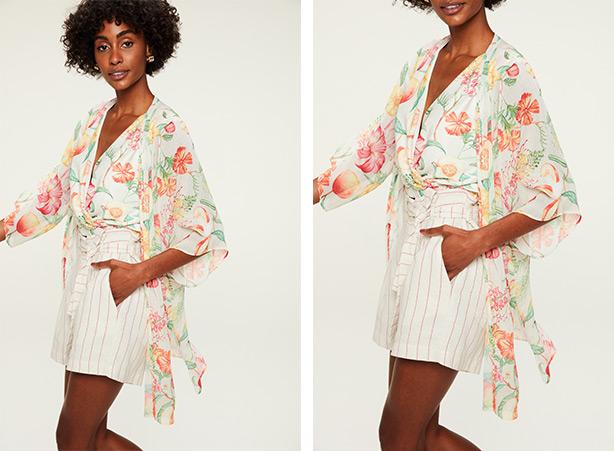 Blusa e kimono com florais e short com listras