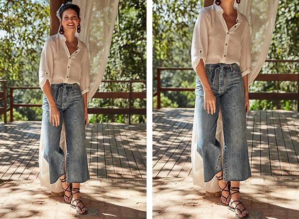 Calça pantacourt jeans com camisa branca feminina