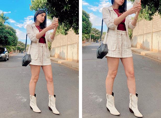 Conjunto feminino de short com bota cano curto