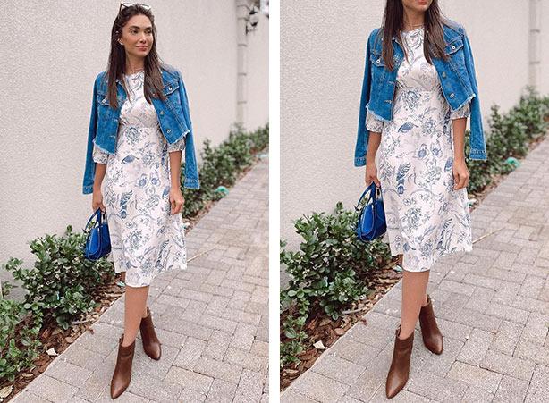 Vestido floral com jaqueta jeans
