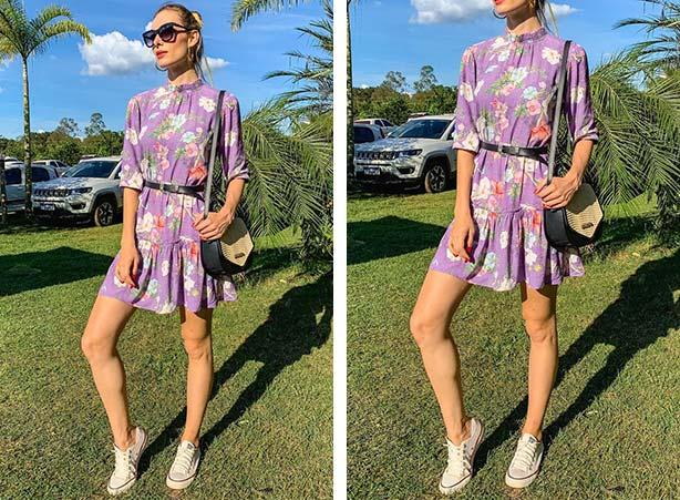 Vestido lilás com estampa floral