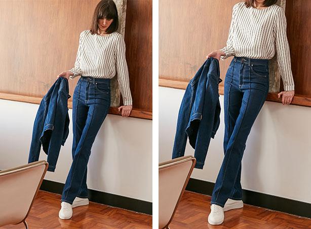 Blusa listrada com calça jeans