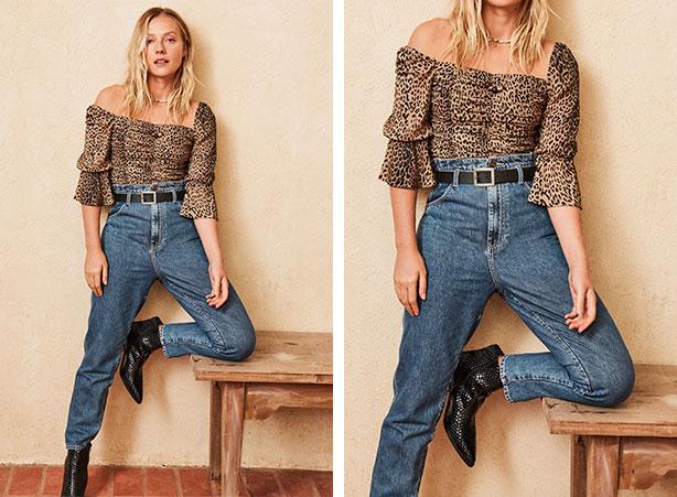Cinto com calça clochard jeans