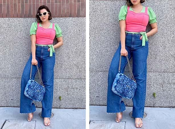 Look com cores blocadas com verde, rosa e calça jeans