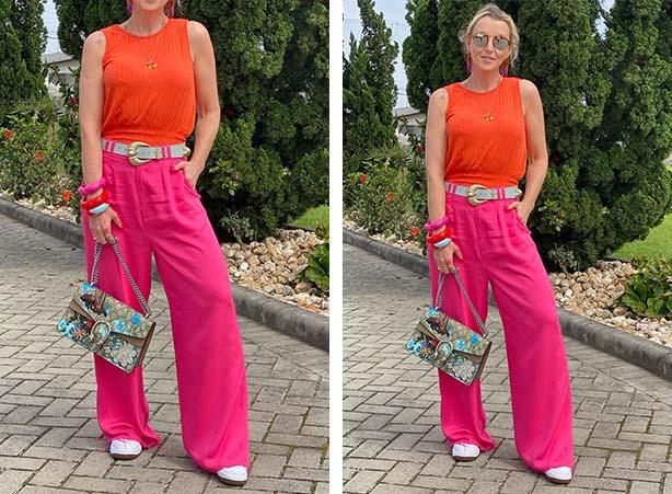 Look color block com laranja e rosa