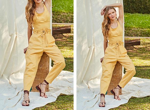 Look monocromático amarelo