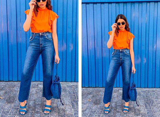 Look de wide leg com blusa laranja