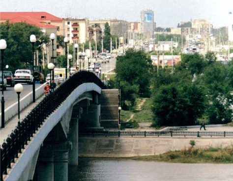 Highway bridge, completed under the supervision of outstanding Kazakh civil engineer Alexander Ryazanov in 2000, connects Asian and European parts of Atyrau City, Western Kazakhstan.
