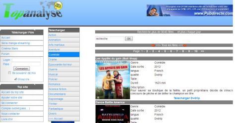 www.topanalyse.com деген француз фильмдері сайтының көрінісі.