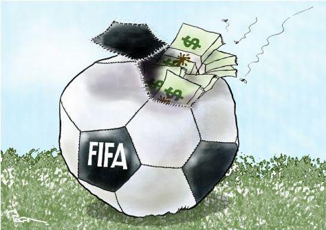 Дырявый футбольный мяч, набитый долларами.
