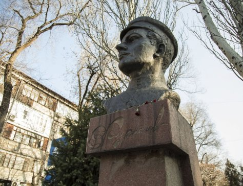 A monument to Soviet statesman and writer Dmitry Furmanov in Almaty, now dismantled.