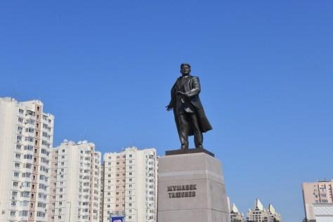 A monument to the Kazakh national hero Zhumabek Tashenev in Aqmola - the capital of Kazakhstan, 2021.