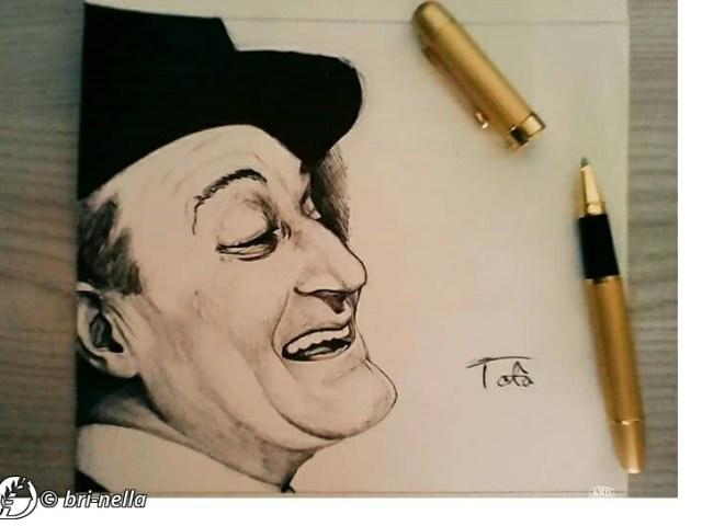 """Dantebus - """"Totò ritratto penna su carta"""" Bri-nella"""