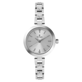 Silver Dial Silver Stainless Steel Strap Watch for Women