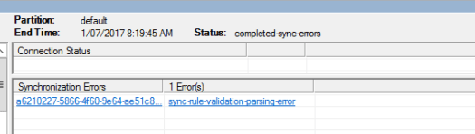 Sync Rule Validation Parsing Error