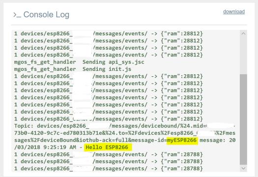MongooseOS MQTT Azure IoT - Mongoose Device Log