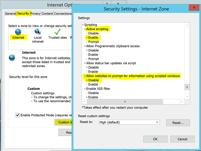 MIM Sync Service Account IE Security Settings