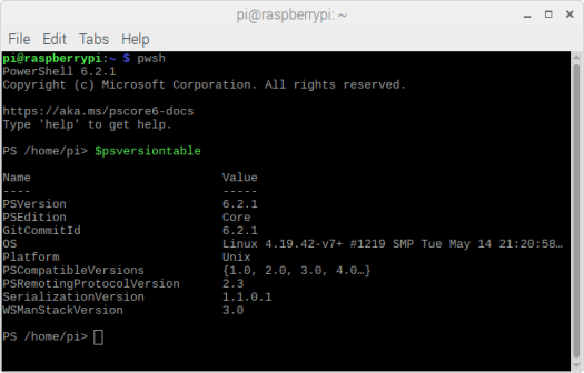 PowerShell Core 6.2.1 on Raspbian.png