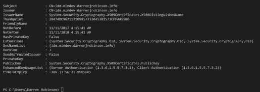 X509 Certificate Details PowerShell Module output for an expired certificate