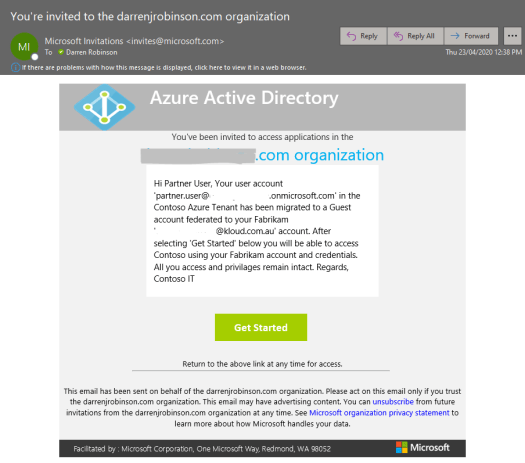 B2B user invitation email