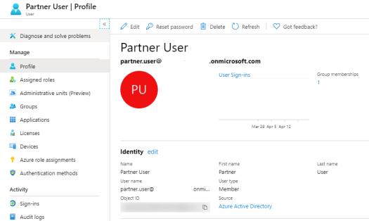 Partner User as Azure AD Member User