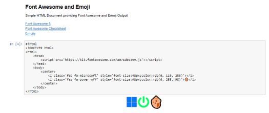 Display Font Awesome and Emojis in PowerShell Jupyter Notebook