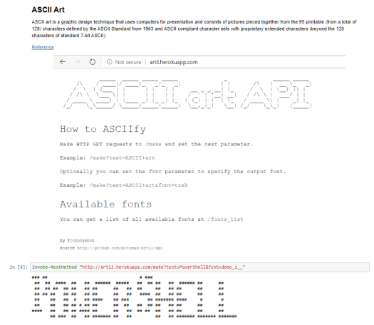Generating a ASCII Art with Powershell and displaying in a PowerShell Jupyter Notebook