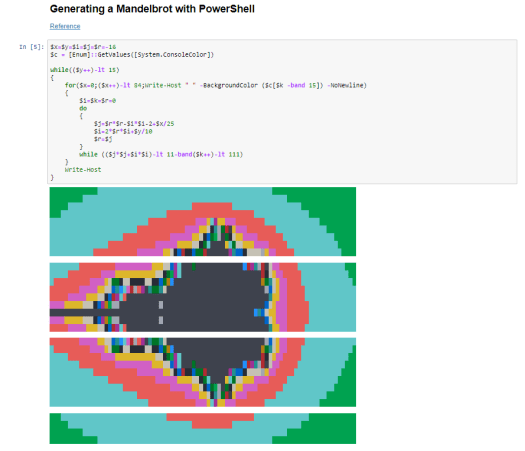 Generating a Mandelbrot with Powershell and displaying in a PowerShell Jupyter Notebook
