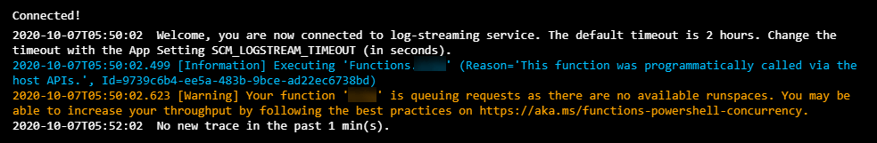 Azure PowerShell Function is queuing requests as there are no available runspaces