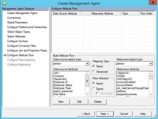 Dynamics 365 Finance & Operations Management Agent attribute flow