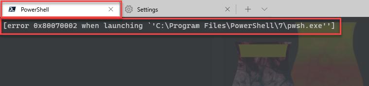 [error 0x800700c1 when launching `C:\Program Files\PowerShell\7\pwsh.exe']
