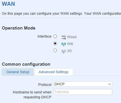 wan mode - ¿ Cómo configurar mi router móvil para conectarse por WiFi a otro router ?