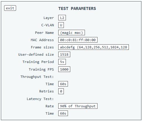 RFC2544 test parameters - ¿ Cómo lanzar una RFC2544 con el NT1003 de Metrodata ?