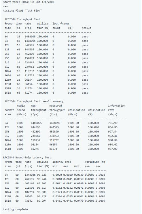 RFC2544 test results - ¿ Cómo lanzar una RFC2544 con el NT1003 de Metrodata ?