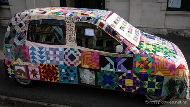 Quilters exhibition car quilt advertising notice in Oamaru
