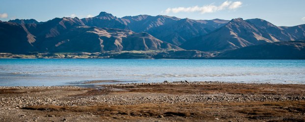Mountains across Lake Hawea from Timaru Creek