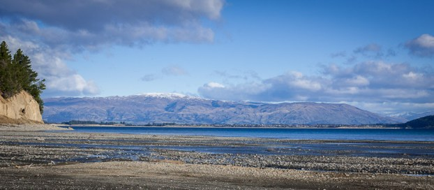 Lake Hawea township from Timaru Creek
