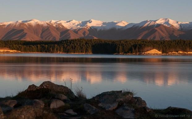 Sunrise Ben Ohau Range across Lake Pukaki