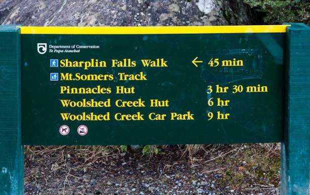 Sharplin Falls Sign