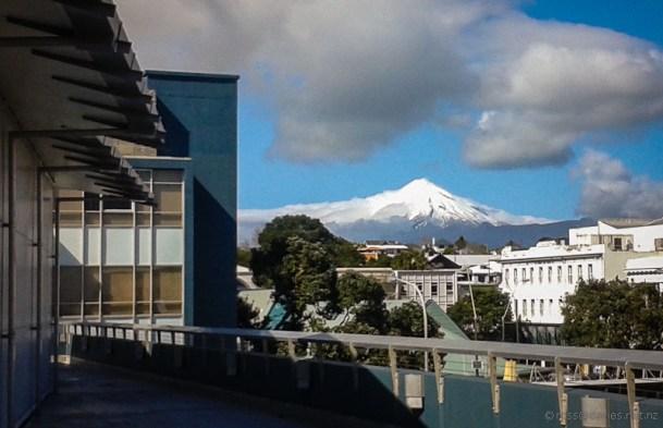Mt Taranaki from Puke Ariki museum New Plymouth