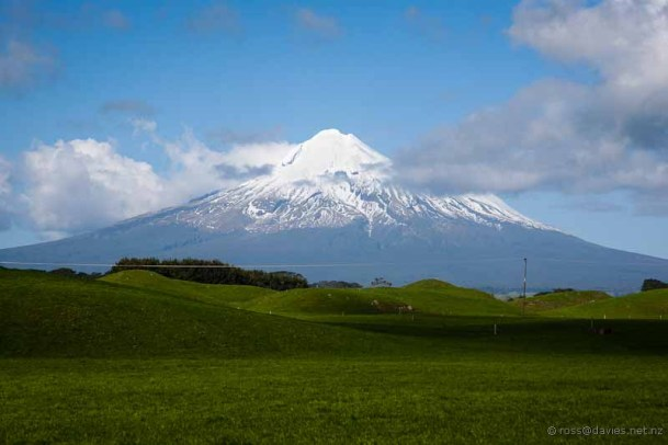 Mt Taranaki with lahar hillocks