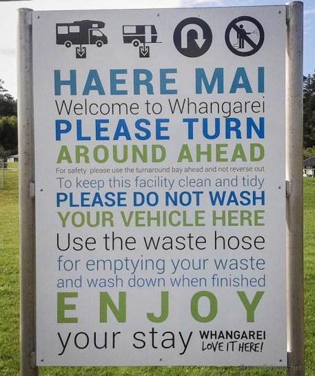 Whangaerei dump station sign