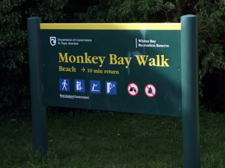 Monkey Bay Walk sign