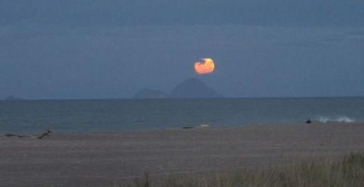 Moon Rising Over Whale Island